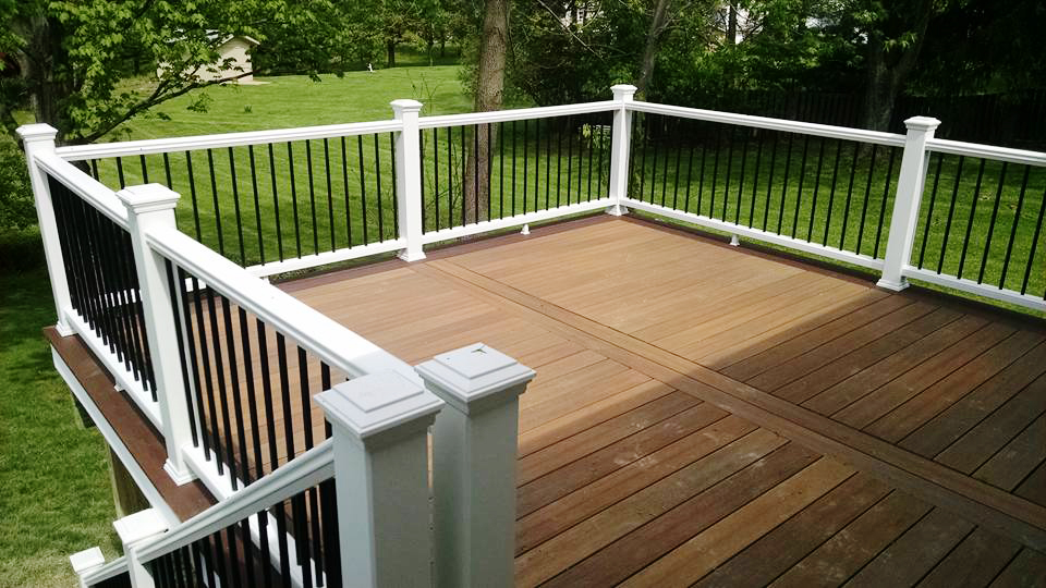 Close up picture of deck and railing